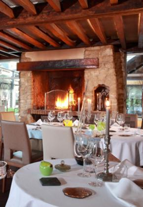 Gourmet dinner by the fireside in a Michelin-starred restaurant