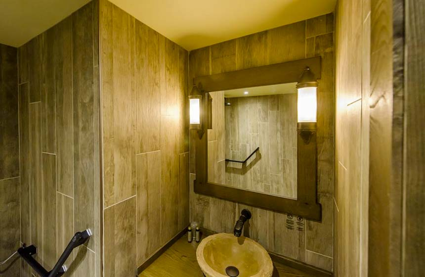 Your bathroom has a large, luxury walk-in shower
