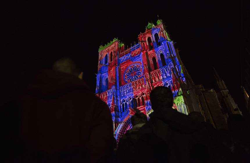 Amiens has become famous for its stunning 'Chroma' light show at the cathedral