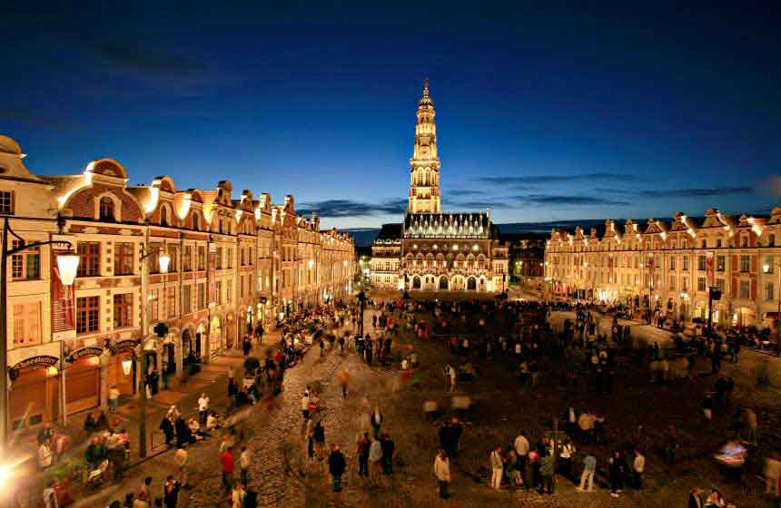 The stunning Flemish architecture in nearby Arras is a stunning sight at night