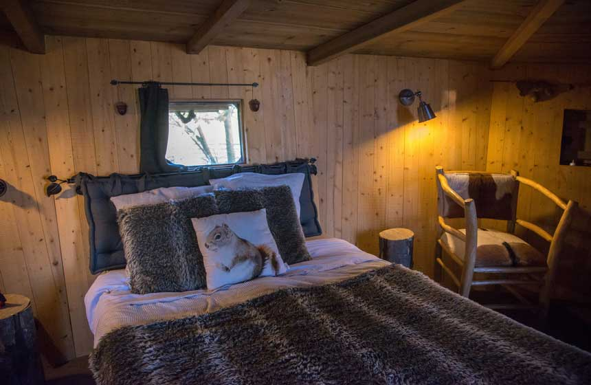 The name of your accommodation at Chateau des Tilleuls in Northern France is 'La Cabane de l'Ecureuil' - squirrel's treehouse!
