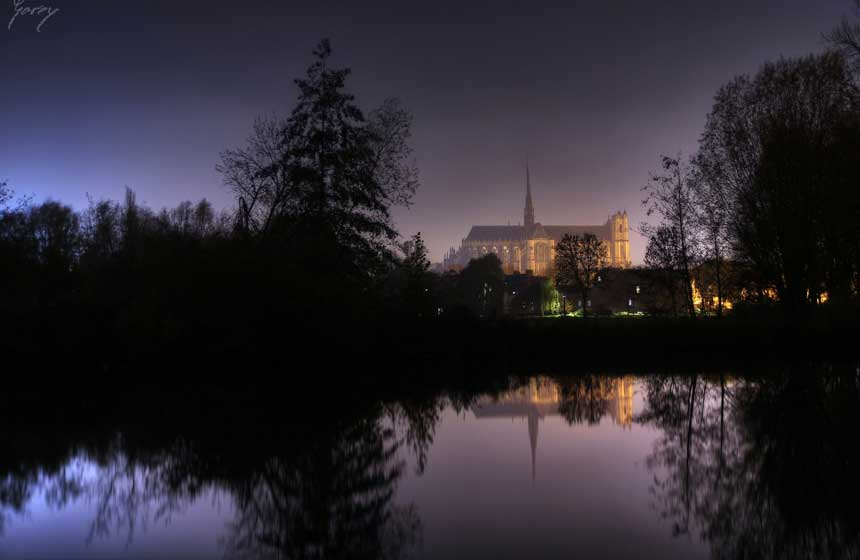 Notre-Dame d'Amiens cathedral, at the heart of the city, yet surrounded by nature
