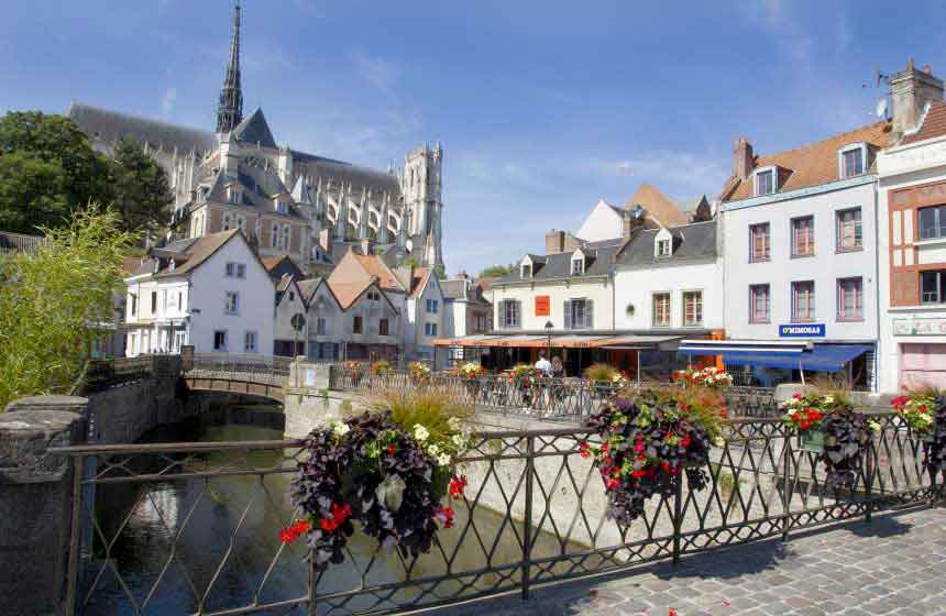 Admire Amiens' Cathedral from a café terrace in the old town, Saint-Leu