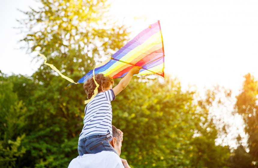 There's family fun to be had flying kites on a French gite holiday at Villa des Groseilliers in Northern France