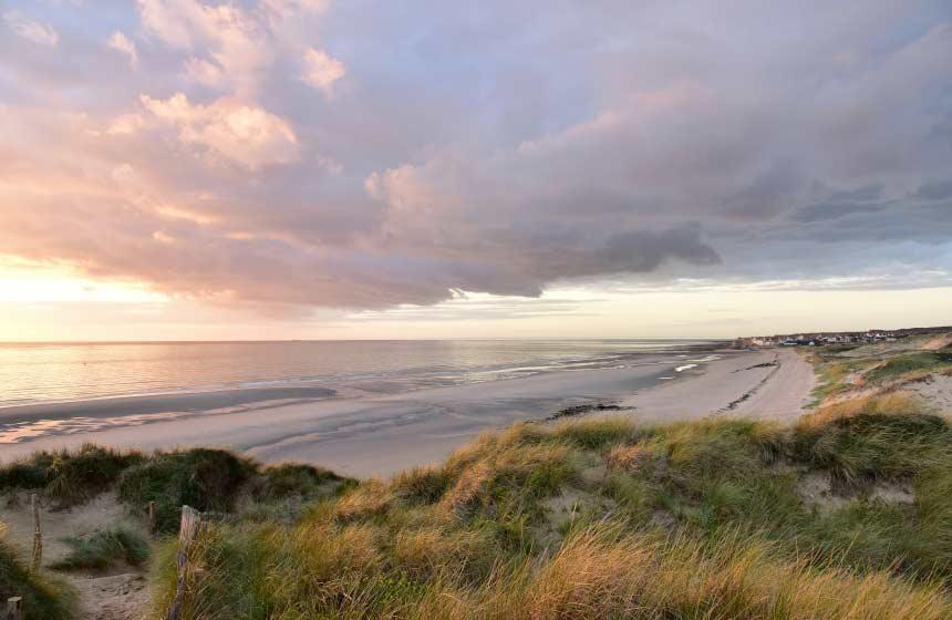 Sunset on the beach at Ambleteuse