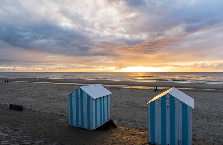 Enjoy a sunset over Hardelot beach in Northern France