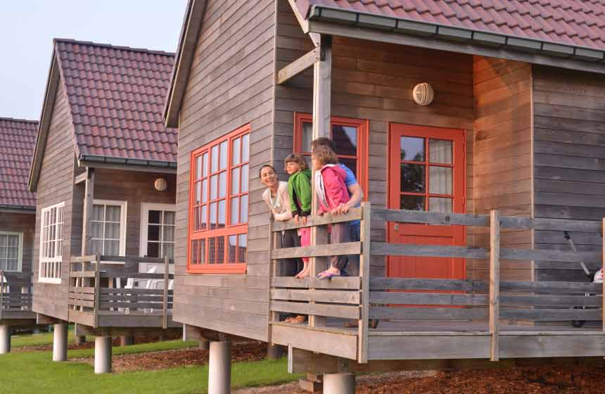 Log cabins at the family-friendly resort Domaine du Val, northern France