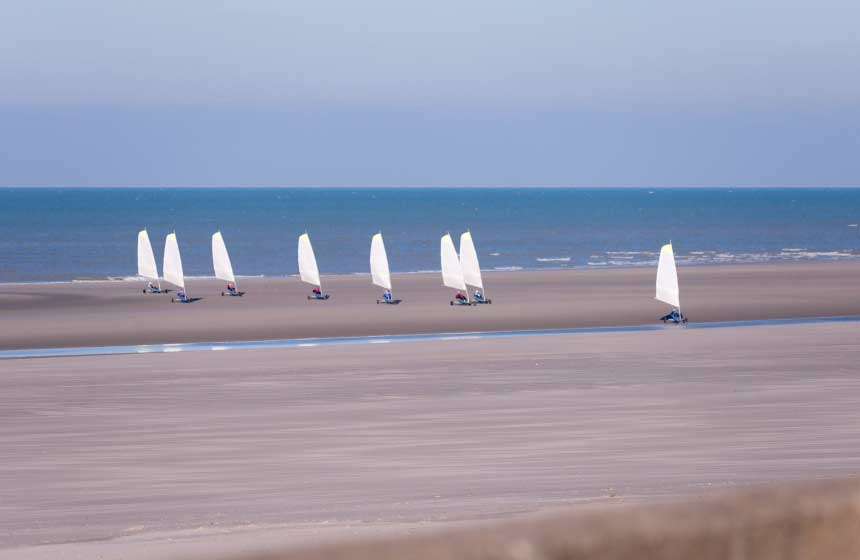 Making the most of the vast sandy beaches with sand-yachting