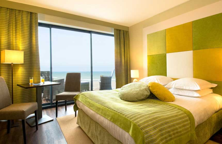 'Tradition' rooms at the Atlantic Hotel in Northern France's Wimereux come complete with sea view