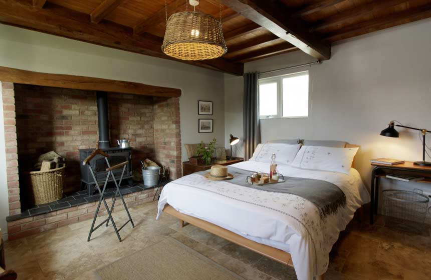 The lovely modern-rustic decor of your romantic Northern France gite