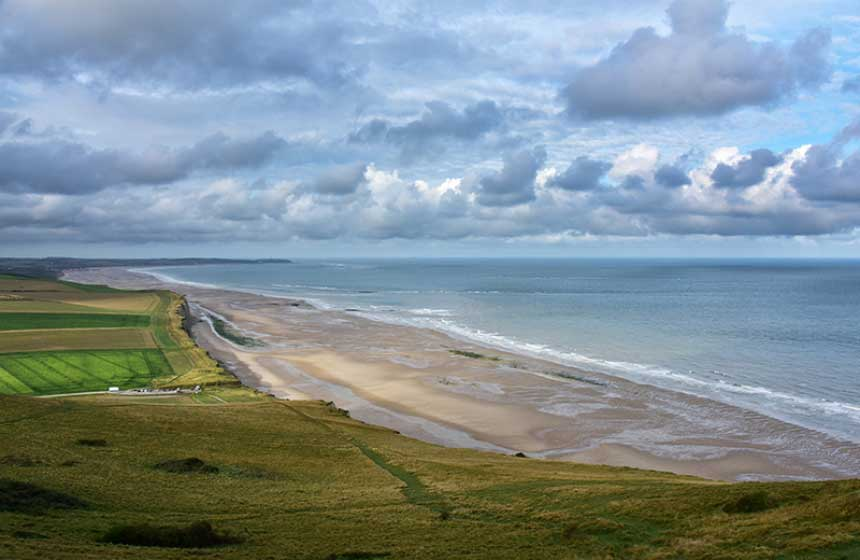 View of the beach from the cliffs at Cap-Blanc-Nez near Calais in Northern France
