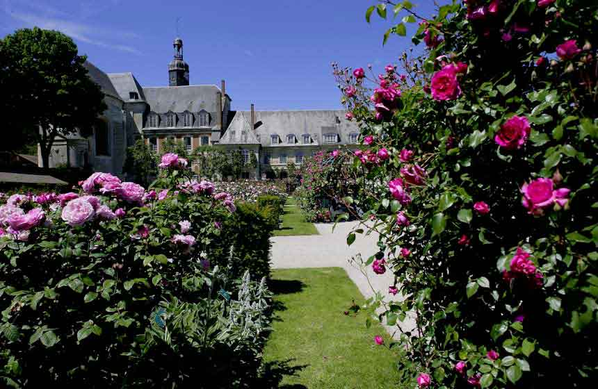 The famous rose gardens at Abbaye de Valloires