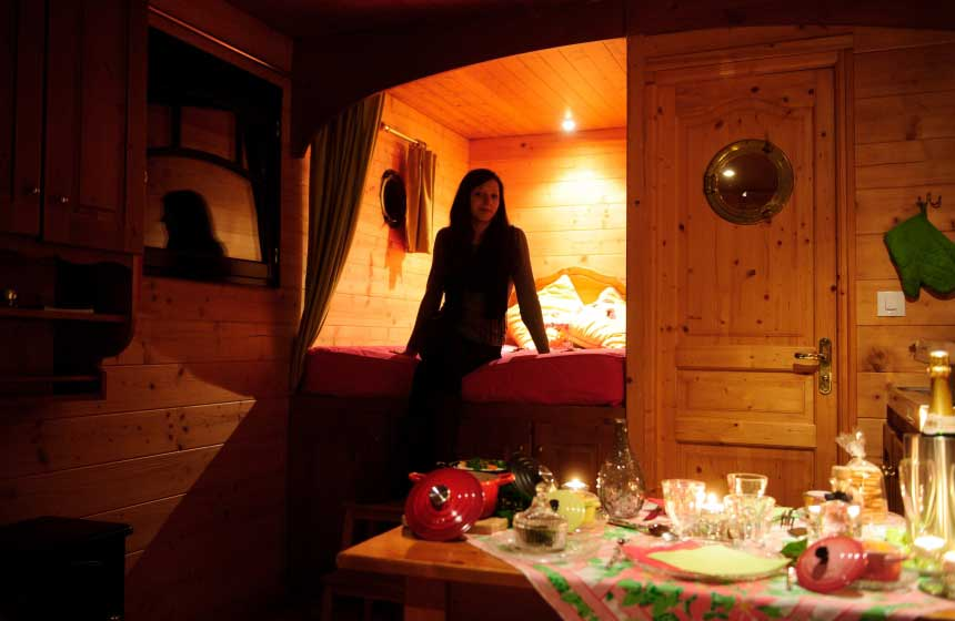 Spending the evening together at Maison de l'Omignon's gypsy caravan in Northern France couldn't be more romantic
