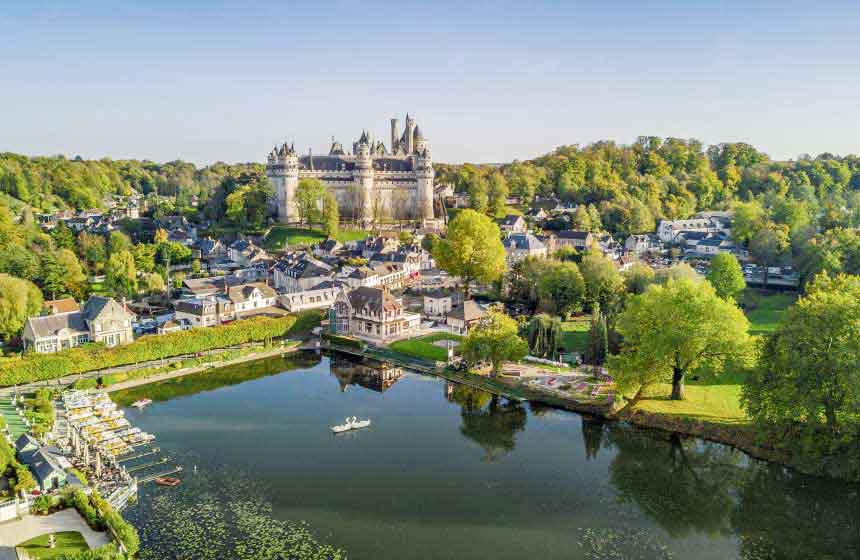 The impressive Château de Pierrefonds, Northern France, is within easy reach