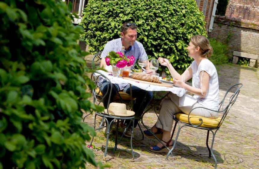 Enjoy brunch at Gerberoy's 'Jardin des Ifs' (yew tree gardens)