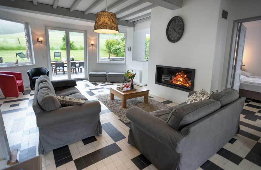There's a large lounge at Villa des Groseilliers gite ‒ perfect for multigenerational family weekend breaks or get-togethers with friends