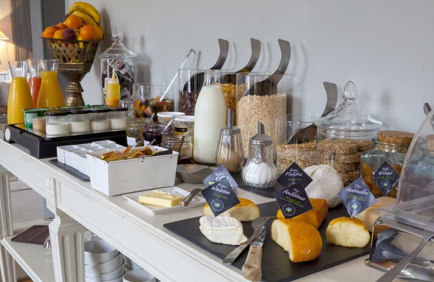 A lovely buffet breakfast at Ferme du Vert ‒ or you can request breakfast in your room if you prefer