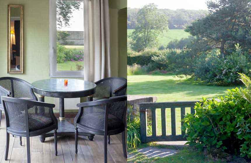 A quiet lounge corner overlooking Ferme du Vert's gorgeous gardens