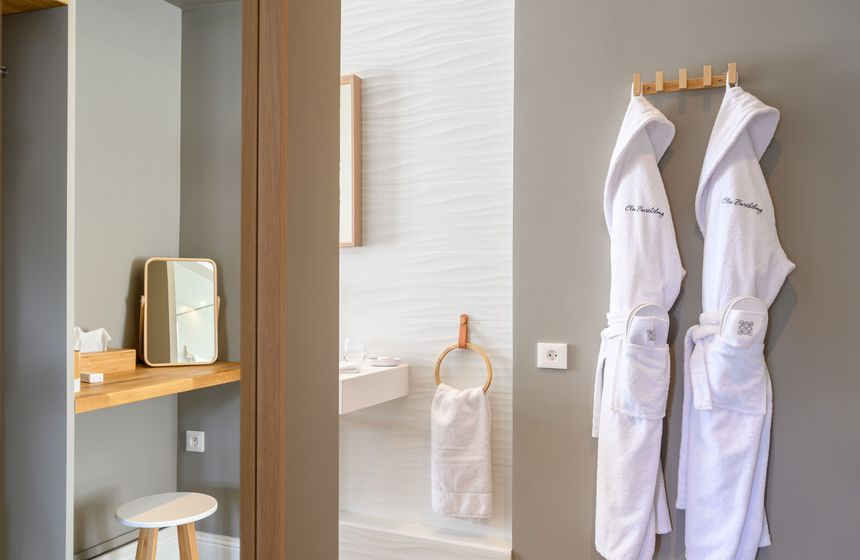 La Baronne's bathroom with luxury touches on your manor house weekend break in Northern France