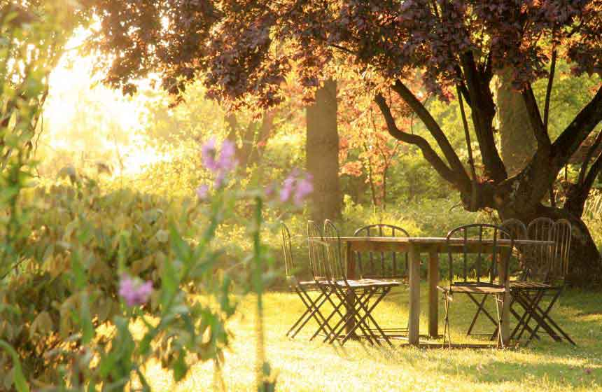 Take time to relax in the gardens at Villa du Châtelet luxury bed and breakfast