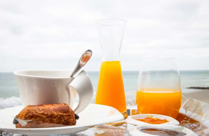 Enjoy breakfast with a sea view on your balcony at the Atlantic Hotel in Wimereux near Calais