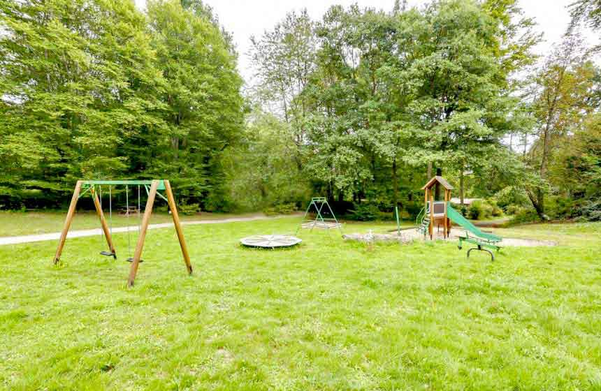 Younger guests will enjoy the play area with swings, slide and roundabout - Le Bois de Rosoy treehouse bed and breakfast near Disneyland Paris, France