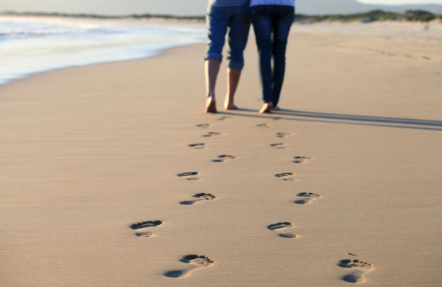 A romantic walk along the beach near your coastal holiday cottage in Northern France