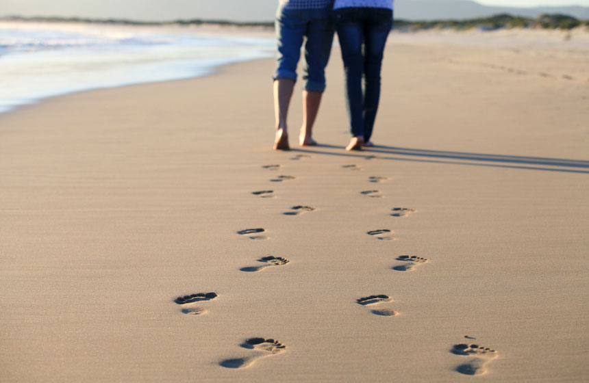 Walk barefoot in the soft sand