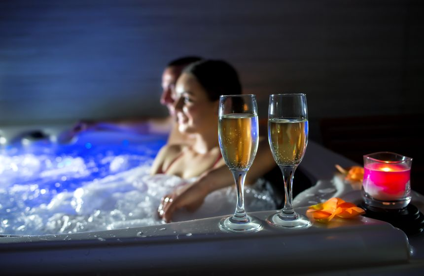 Bubbles with your bubbles? Enjoy champagne in your private hot tub on your romantic weekend break in Northern France