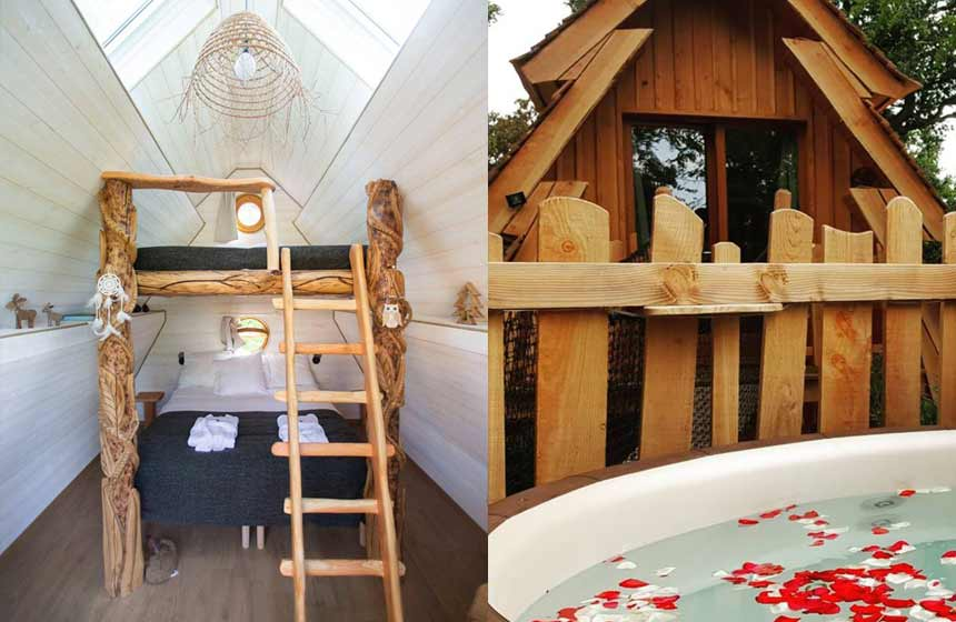 The super comfortable bunkbeds in 'La Merveilleuse' - Treehouse bed and breakfast at Le Bois de Rosoy campsite near Disneyland Paris, France