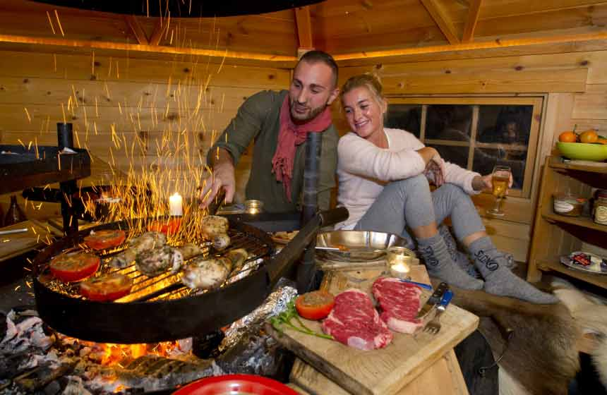 On a 2-night stay at this unusual place to stay in France, you can opt for dinner in Maison de l'Omignon's Finnish 'kota-grill cabin