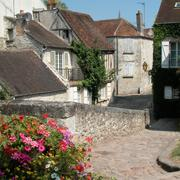 streets with cobblestones in Senlis Oise Northern France